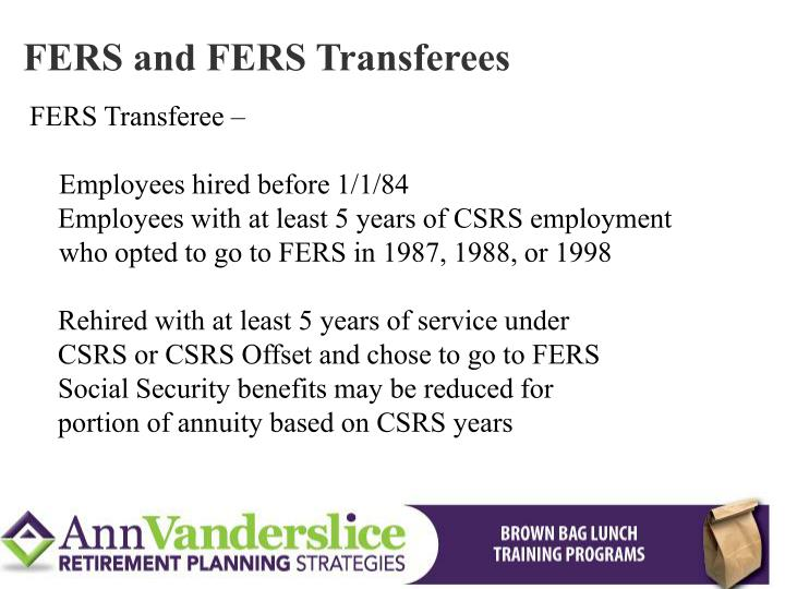 FERS and FERS Transferees