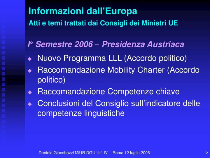 Informazioni dall europa atti e temi trattati dai consigli dei ministri ue