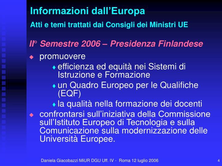 Informazioni dall'Europa