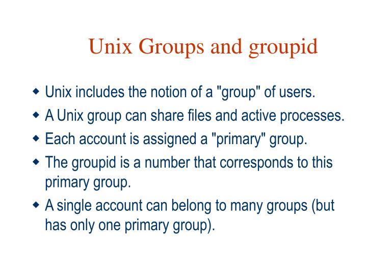 Unix Groups and groupid
