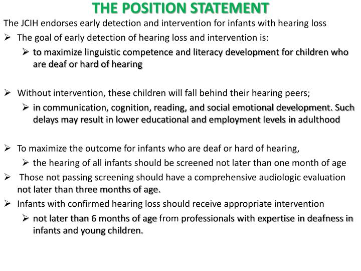 THE POSITION STATEMENT