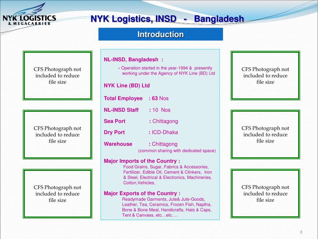PPT - NYK Line (Bangladesh) Ltd As Agents for :- NYK