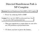directed hamiltonean path is np complete