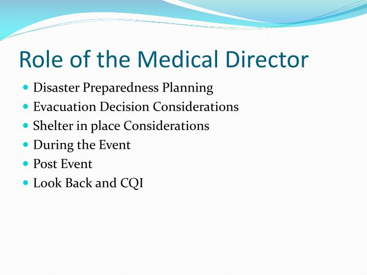 Role of the Medical Director