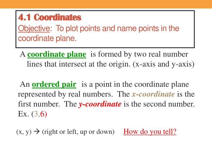 4 1 coordinates objective to plot points and name points in the coordinate plane n.