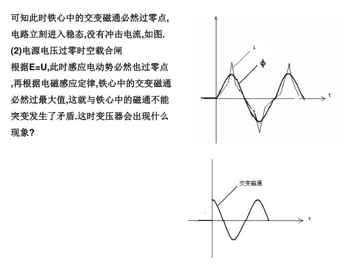 可知此时铁心中的交变磁通必然过零点