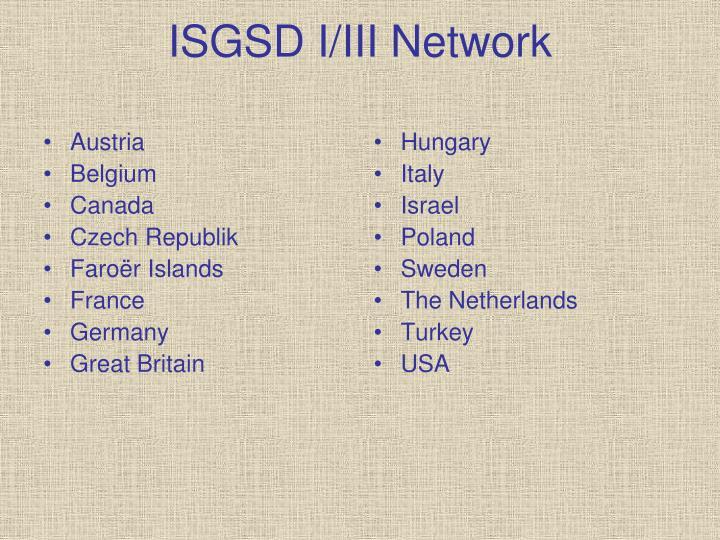 Isgsd i iii network