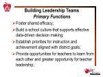 building leadership teams primary functions