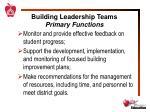 building leadership teams primary functions1