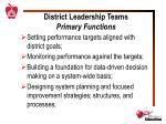 district leadership teams primary functions
