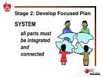 stage 2 develop focused plan