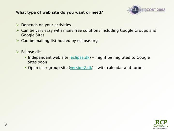 What type of web site do you want or need?