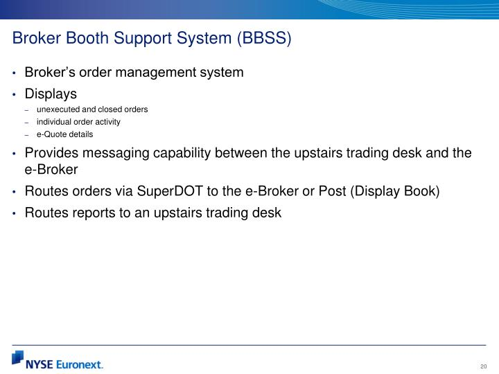 Broker Booth Support System (BBSS)