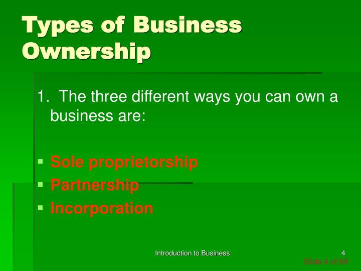three types of business ownership