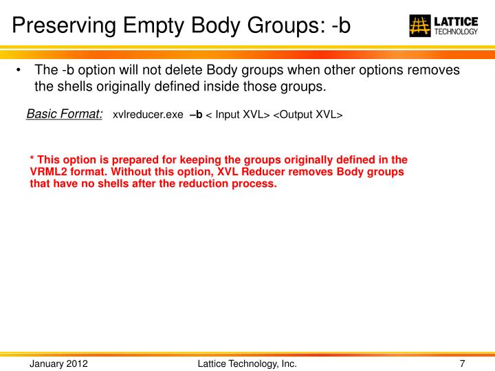 Preserving Empty Body Groups: -b