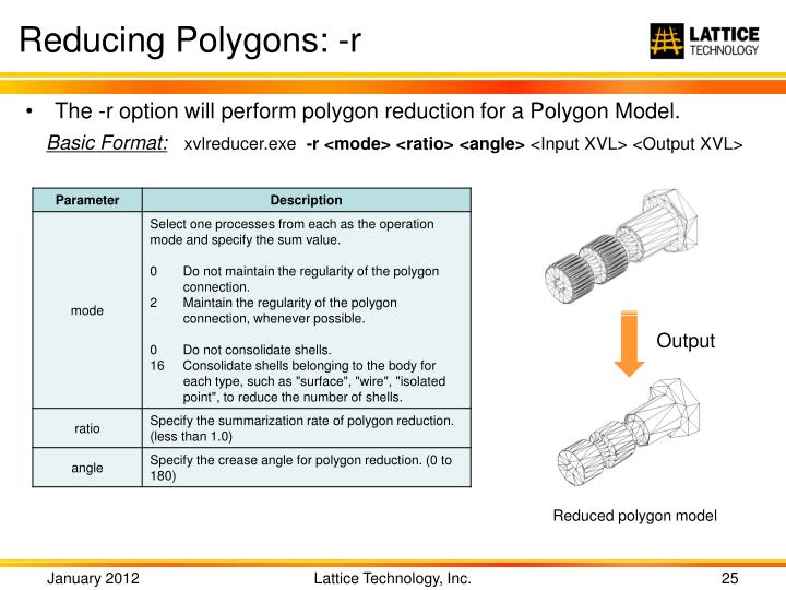 Reducing Polygons: -r