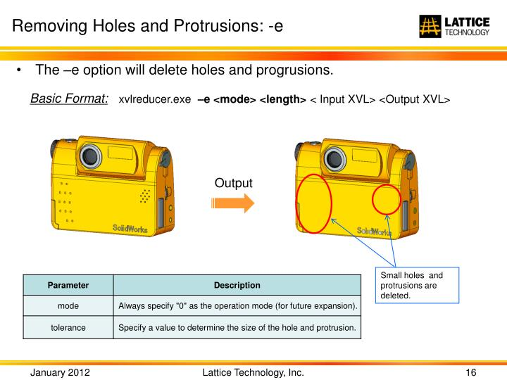 Removing Holes and Protrusions: -e