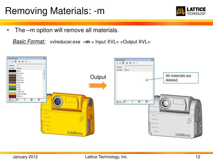 Removing Materials: -m