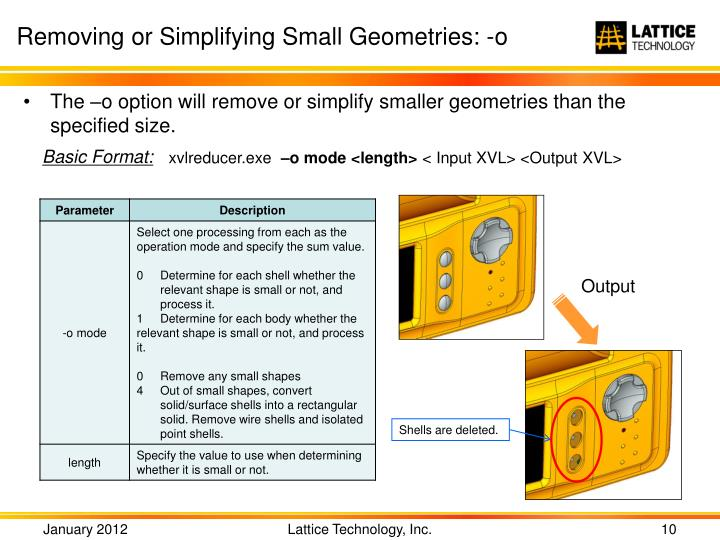Removing or Simplifying Small Geometries: -o