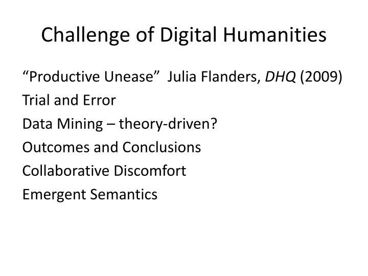 Challenge of digital humanities