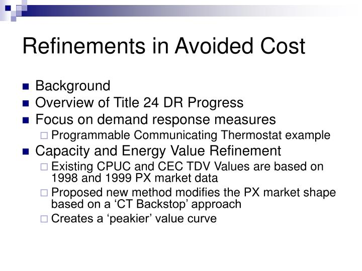 Refinements in avoided cost