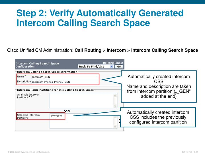 Step 2: Verify Automatically Generated Intercom Calling Search Space
