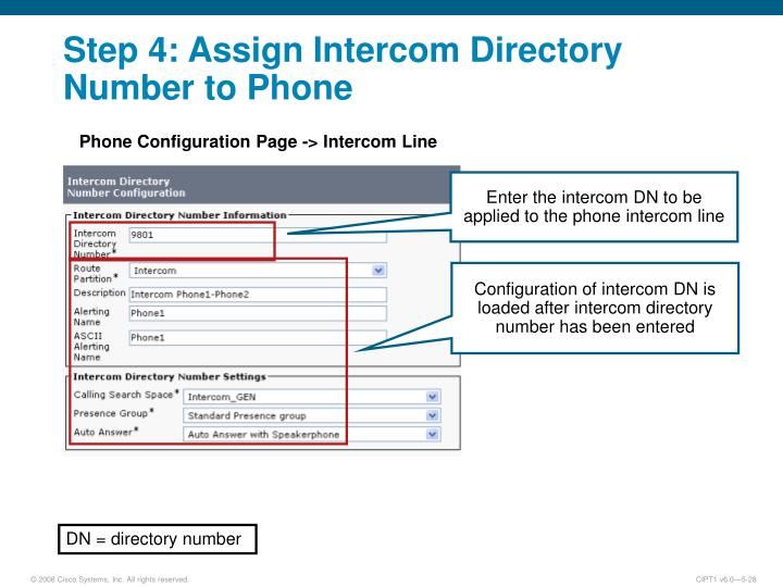 Step 4: Assign Intercom Directory Number to Phone