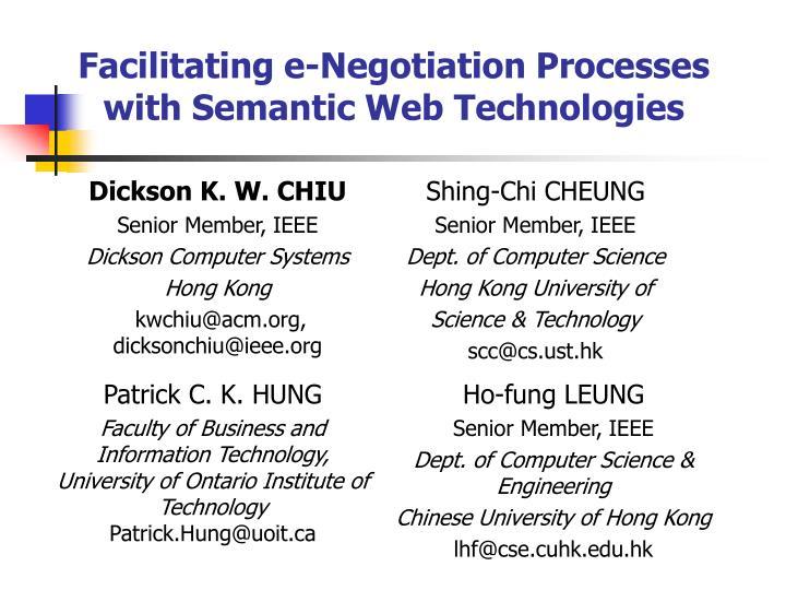 facilitating e negotiation processes with semantic web technologies n.
