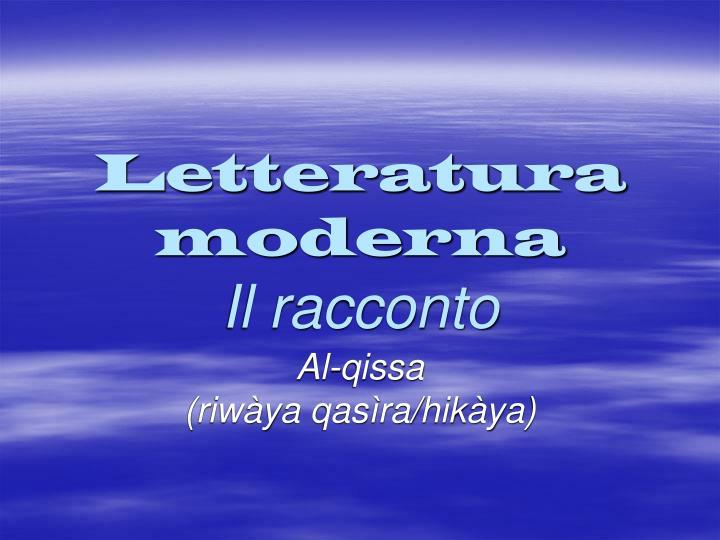 letteratura moderna il racconto n.