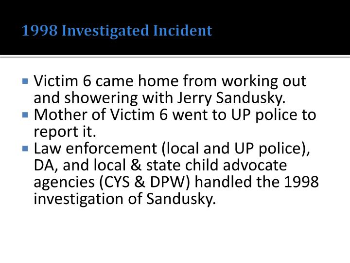 1998 Investigated Incident