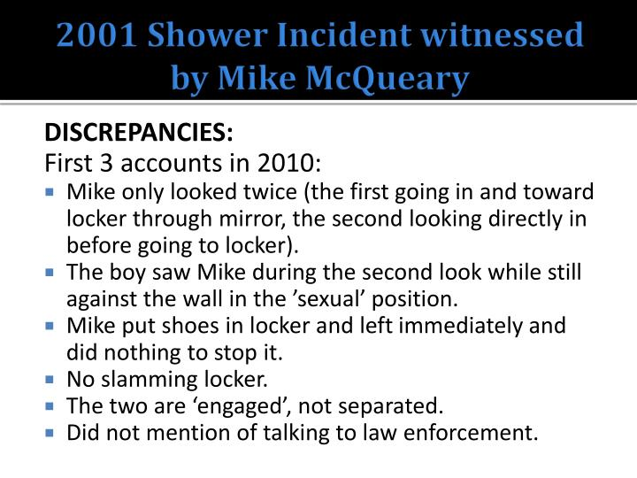 2001 Shower Incident witnessed by Mike