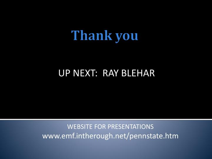 UP NEXT:  RAY BLEHAR