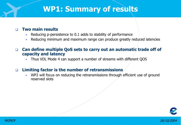 WP1: Summary of results