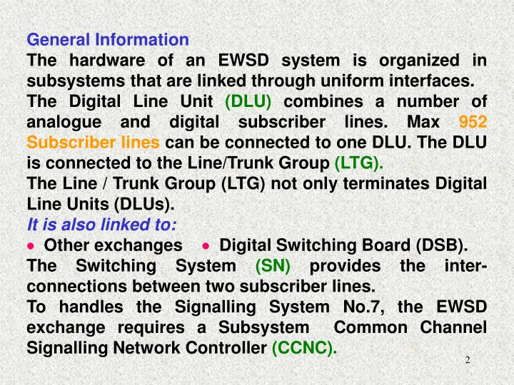 Ppt introduction to digital switching system ewsd electronics general information ccuart Images