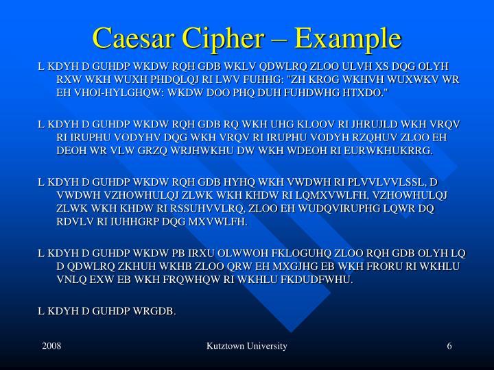 Caesar Cipher – Example