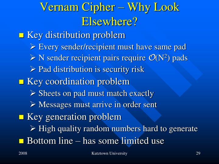 Vernam Cipher – Why Look Elsewhere?