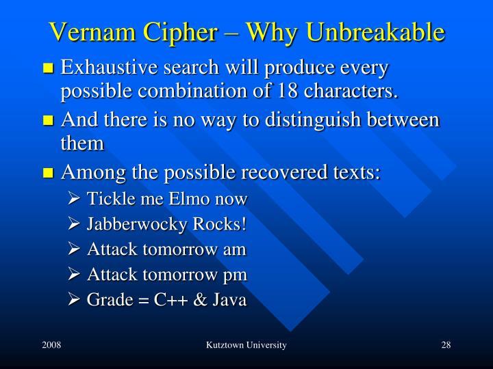 Vernam Cipher – Why Unbreakable