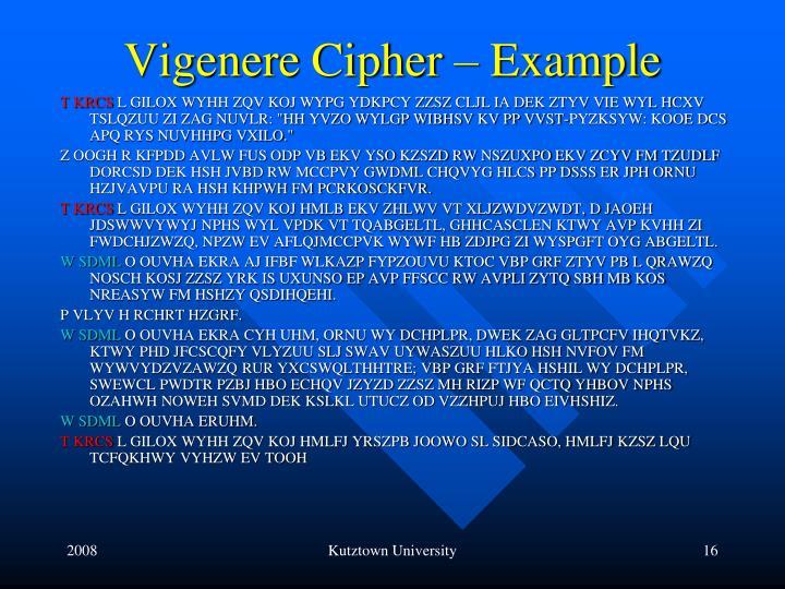 Vigenere Cipher – Example