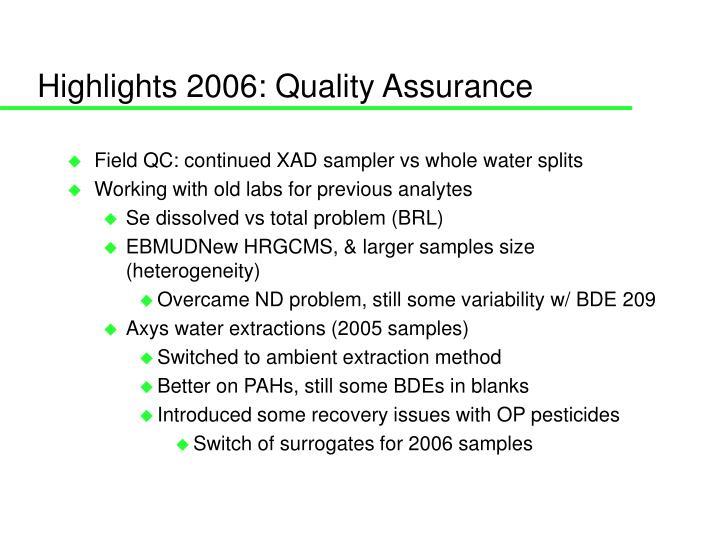 highlights 2006 quality assurance n.