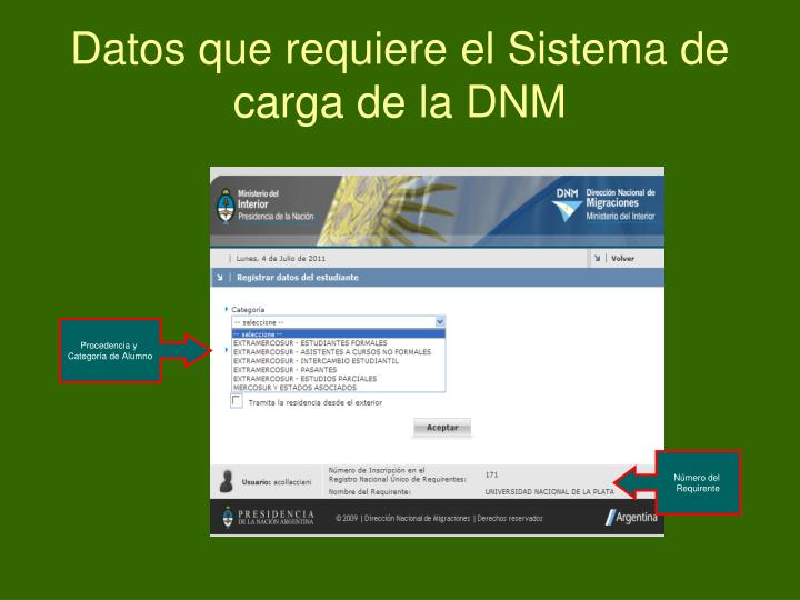 Datos que requiere el Sistema de carga de la DNM