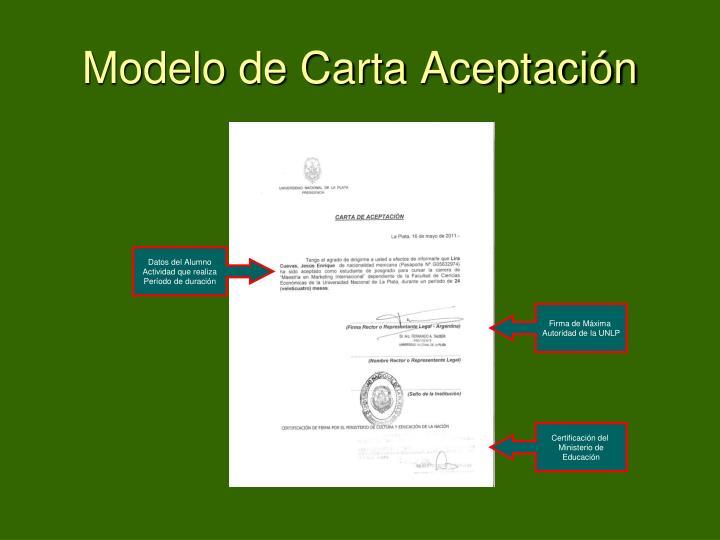 Modelo de Carta Aceptación
