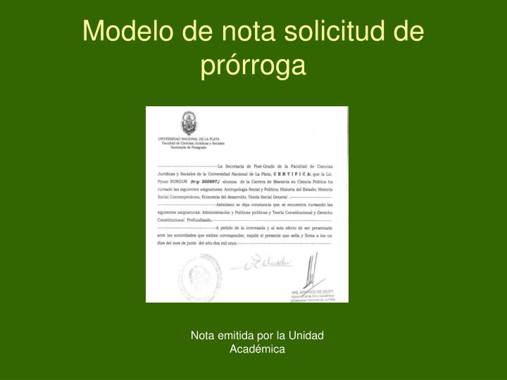 Modelo de nota solicitud de prórroga