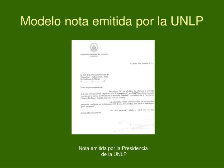 Modelo nota emitida por la UNLP