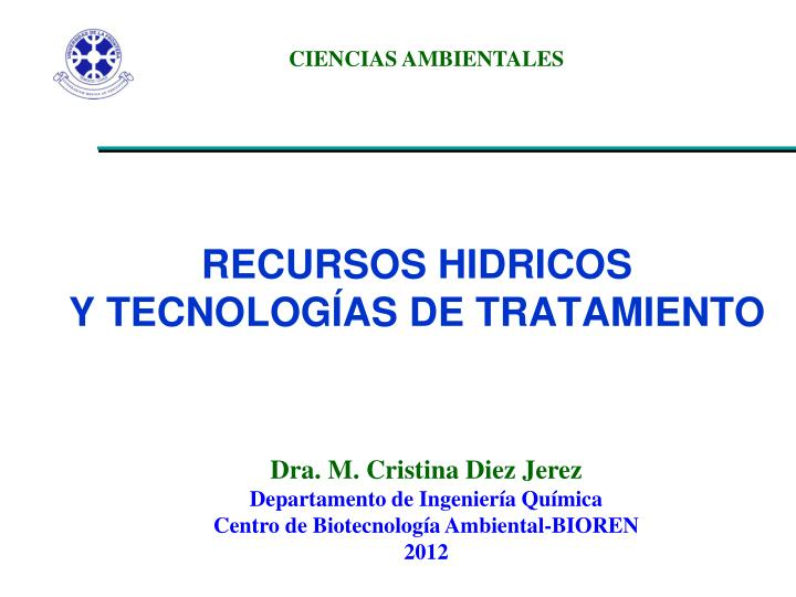 Recursos hidricos y tecnolog as de tratamiento