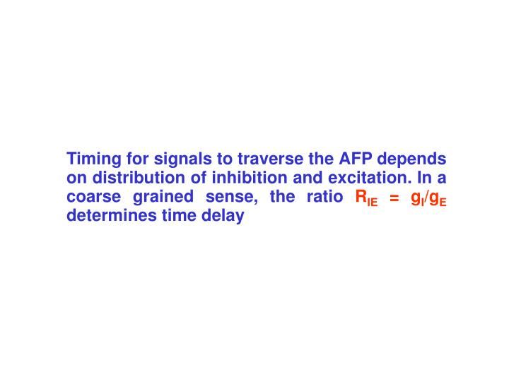 Timing for signals to traverse the AFP depends on distribution of inhibition and excitation. In a coarse grained sense, the ratio