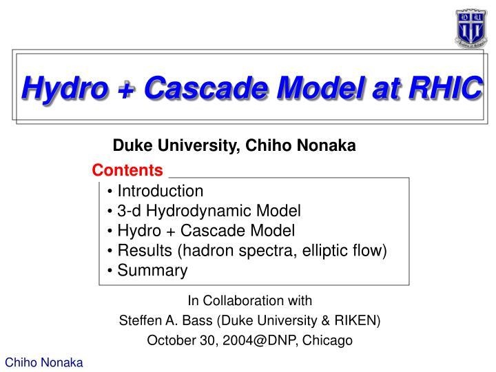 Hydro cascade model at rhic