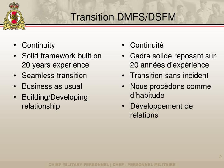 Transition DMFS/DSFM
