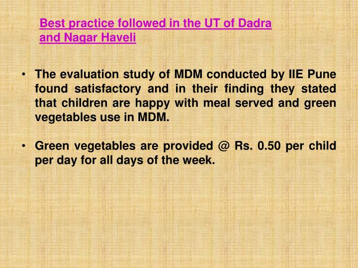 Best practice followed in the UT of Dadra