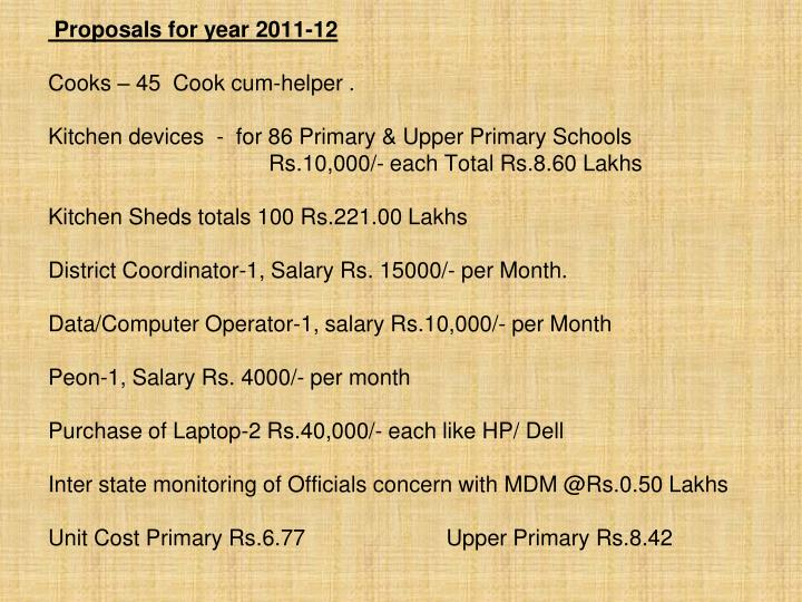 Proposals for year 2011-12