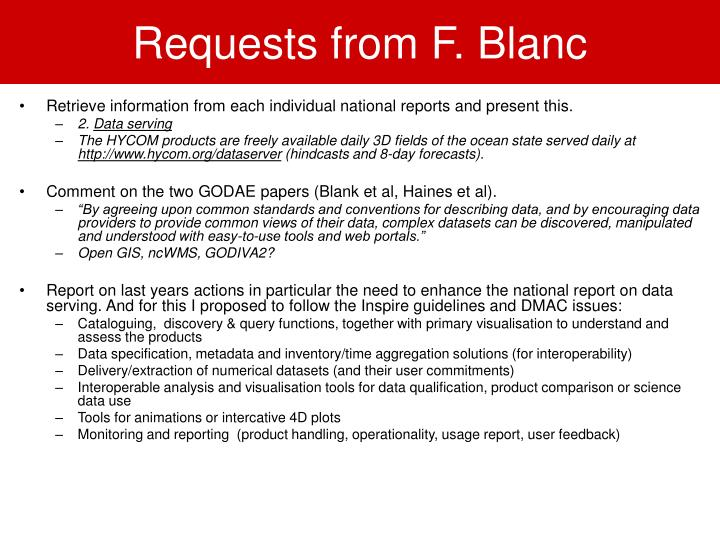 requests from f blanc n.